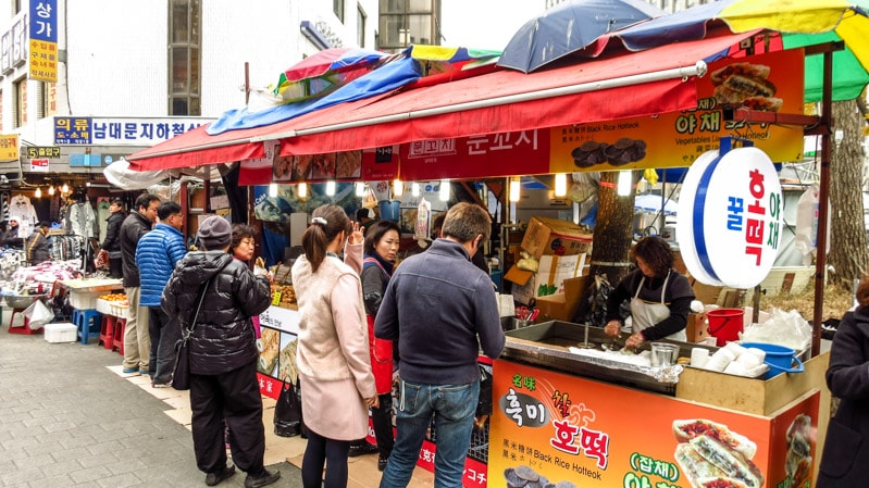 Food stalls outside Exit 5 of Hoehyeon Station at Namdaemun Market
