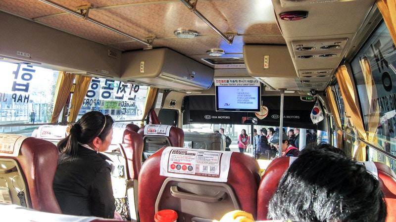 Onboard one of the Airport Limousine Buses on the way to Seoul