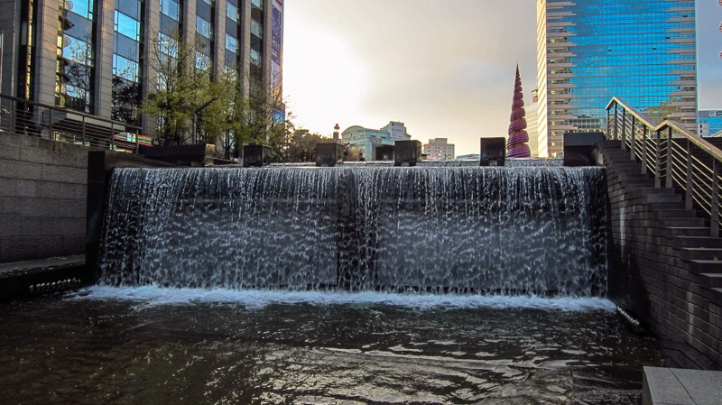 Two tired waterfall on Cheonggyecheon Stream near Cheonggye Plaza